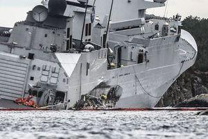 Tận thấy tàu khu trục Na Uy nằm ngả nghiêng hậu va chạm tàu chở dầu
