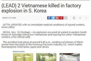 Nổ nhà máy ở Hàn Quốc, 4 công dân Việt Nam thương vong