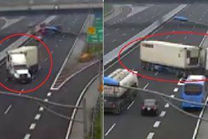 Xe container chạy ngược chiều trên cao tốc Hà Nội - Hải Phòng: Phạt 7 triệu đồng, tước giấy phép lái xe 5 tháng