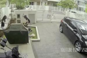 Bị cướp theo vào tận sân, cô gái phản ứng mau lẹ khiến 2 tên cướp ôm nhau tháo chạy