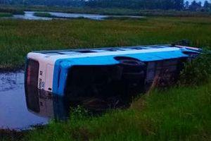 Cà Mau: Xe 29 chỗ mất lái lật ngang dưới vuông tôm vì tài xế buồn ngủ