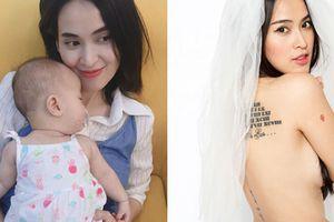 Tú Vi khoe hình xăm gợi cảm sau 7 tháng sinh con gái đầu lòng