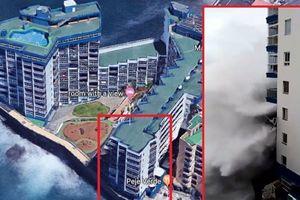 Khoảnh khắc cột sóng cao 12m đổ ập vào ban công căn hộ