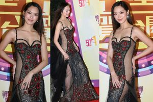 Hoa hậu Hong Kong Phùng Doanh Doanh quên luôn nội y khi lên thảm đỏ