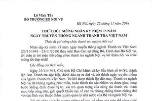 Thư chúc mừng của Bộ trưởng Lê Vĩnh Tân nhân kỷ niệm 73 năm ngày truyền thống ngành Thanh tra Việt Nam