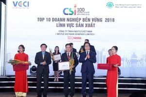 Nestlé Việt Namlọt Top 10 Doanh nghiệp bền vững Lĩnh vực sản xuất năm 2018