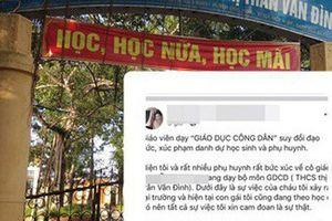 Hà Nội: Có việc giáo viên môn Giáo dục công dân đánh, đuổi học sinh