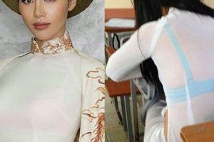 'Chân dài sexy nhất Việt Nam' mắc thảm họa nội y thường thấy với áo dài trắng