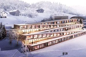 Trượt tuyết trên mái nhà khách sạn