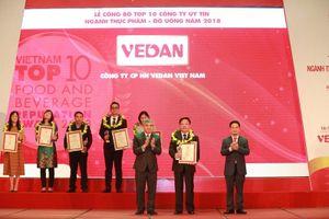 Vedan: Top 10 công ty uy tín ngành thực phẩm – đồ uống 2018