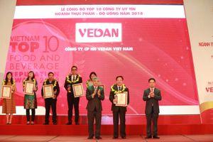 Vedan Việt Nam được vinh danh trong Top 10 công ty uy tín ngành thực phẩm-đồ uống năm 2018