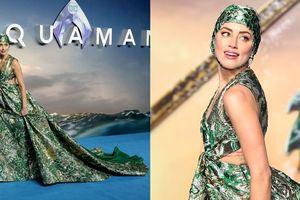Amber Heard đội mũ bơi couture trên thảm xanh ra mắt phim 'Aquaman' tại London