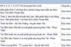 Bình Thuận: Lịch ngừng cung cấp điện từ 3/12 - 9/12