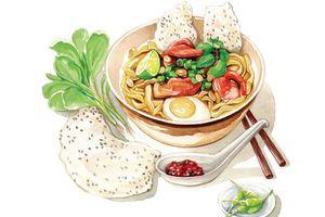 Bún đậu, bánh bèo hấp dẫn qua tranh vẽ của họa sĩ 9X Việt