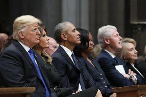 TT Trump lẻ loi khi 'CLB tổng thống' quy tụ ở lễ tang Bush 'cha'