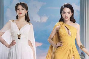 Hari Won, Hương Giang khoe khéo vòng 1 gợi cảm, đọ dáng khi diện váy dạ hội