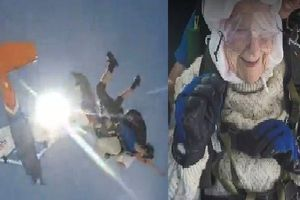Cụ bà 102 tuổi nhảy dù từ độ cao 4.000m
