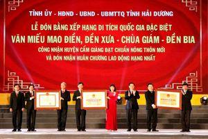 Hải Dương: Đón nhận Bằng công nhận Di tích quốc gia đặc biệt Văn miếu Mao Điền và cụm di tích đền Bia- đền Xưa- chùa Giám