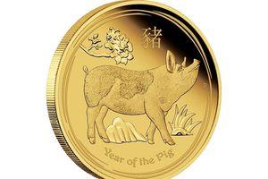 Tiền vàng hình heo và quà tặng heo mạ vàng tiền triệu đón Tết Kỷ Hợi