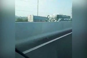 Phẫn nộ với xe tải chạy ngược chiều trên cao tốc Hà Nội - Hải Phòng