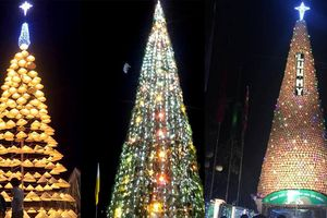 Cây thông Noel khổng lồ làm bằng nồi đất, nón lá, cây hành tăm đậm chất xứ Nghệ