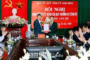 Nam Định công bố quyết định của Ban Thường vụ Tỉnh ủy về công tác cán bộ