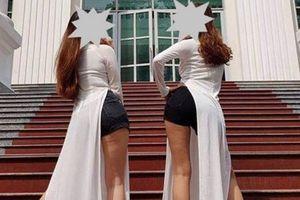 Nữ sinh sư phạm mặc áo dài - quần đùi mong được nhà trường bảo vệ