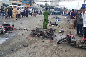 Hiện trường kinh hoàng vụ xe container gây tai nạn liên hoàn ở Long An