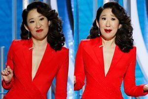 Quả cầu vàng' 2019: Sarah Oh 'rùng mình' khi làm MC, bị đồng đội Andy Samberg đọc lộn lời thoại
