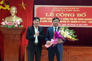Phó Bí thư Tỉnh ủy trao quyết định chuẩn y Phó Bí thư Thường trực Huyện ủy Diễn Châu