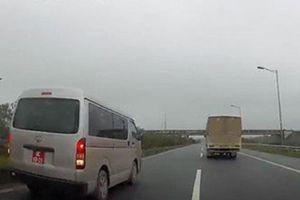 Đình chỉ đại úy lái xe biển đỏ chạy lùi trên cao tốc