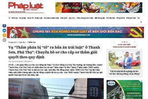 Vụ 'Thẩm phán bị 'tố' ra bản án trái luật' ở Thanh Sơn': TAND Tối cao đề nghị chuyển hồ sơ vụ án để xem xét, giải quyết