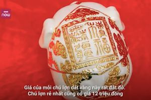 Lợn dát vàng mang tên 'Kỳ linh Kỷ Hợi' giá gần 100 triệu đồng