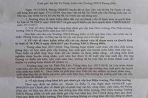 Vì sao không công khai xếp loại của Hiệu trưởng, Hiệu phó trường Phong Điền?