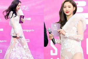 MC Han Cho Im diện váy xuyên thấu lộ liễu gây rúng động thảm đỏ Seoul Music Awards 2019