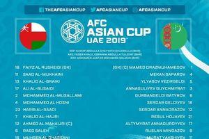 Oman vào vòng 1/8 Asian Cup sau chiến thắng trước Turkmenistan