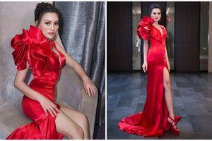 Nữ hoàng Trần Huyền Nhung style đỏ rực toàn tập trong một sự kiện giải trí
