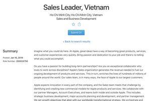 Apple tuyển vị trí giám đốc bán hàng tại Việt Nam, liệu tin đồn mở cửa hàng Apple Store có thành hiện thực?
