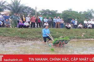 Xem trình diễn máy cấy lần đầu tiên xuất hiện tại Hà Tĩnh