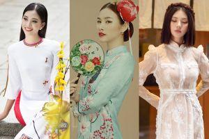 Hoa hậu Việt khoe dáng đẹp thon thả trong tà áo dài cách tân đón xuân Kỷ Hợi