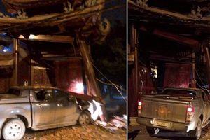 Tài xế say xỉn lái xe tông đổ cổng chùa tại Hà Nội