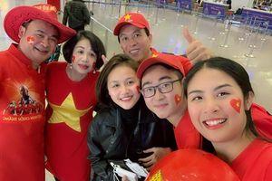 Hoa hậu Ngọc Hân đi Dubai cổ vũ Việt Nam vs Nhật Bản cùng quà 'độc'