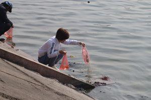 Người dân Thủ đô tấp nập thả cá chép tiễn Táo Quân về trời