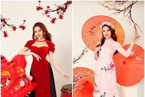 Hoa hậu Gia Hòa diện áo dài cách tân, nhớ kỉ niệm Ba chở đi diễn ngày Tết