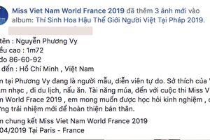 Hậu The Tiffany Việt Nam, Phương Vy tiếp tục tranh tài trong một cuộc thi nhan sắc tại Pháp