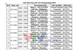 Đài Truyền hình Việt Nam sẽ tường thuật trực tiếp toàn bộ Giải vô địch U22 Đông Nam Á