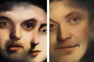 Ngỡ ngàng trước cặp tranh chân dung liên tục biến đổi, không bao giờ lặp lại