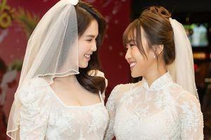 Ngọc Trinh và Diệu Nhi mặc áo cô dâu ra mắt phim