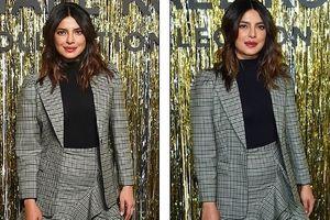 Vắng chồng trẻ, Hoa hậu Thế giới Priyanka Chopra mặc blazer quyến rũ
