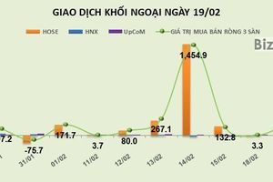 Phiên 19/2: Tranh thủ thị trường hạ nhiệt, khối ngoại bơm ròng thêm 204 tỷ đồng